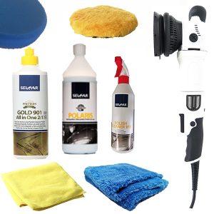 kit pulido de coche de la marca seicar con pulidora, pulimento, abrillantador, boinas y balletas