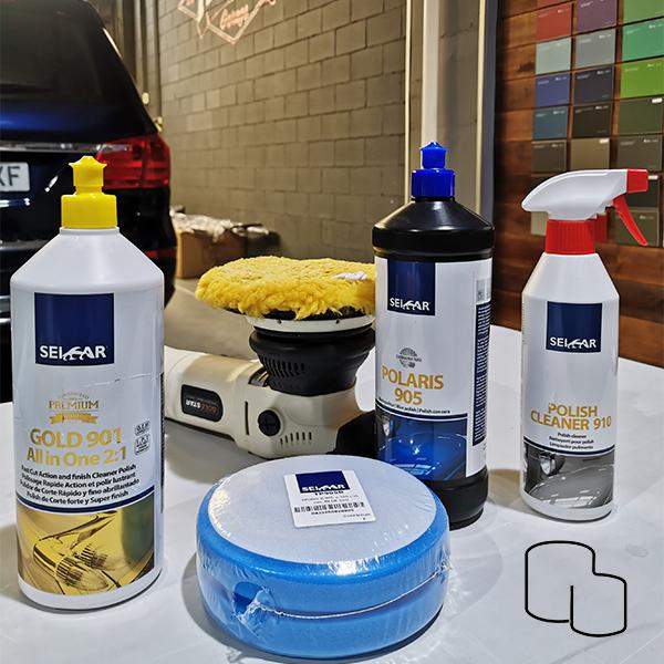 kit pulido de coche completo marca seicar para corregir defectos y deterioro de la pintura