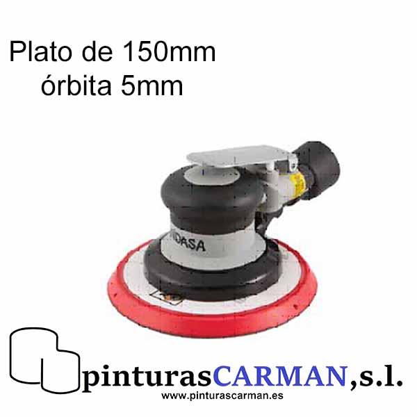 una lijadora orbital neumatica de indasa para conseguir precisión en el lijado de trabajos pequeños en el taller